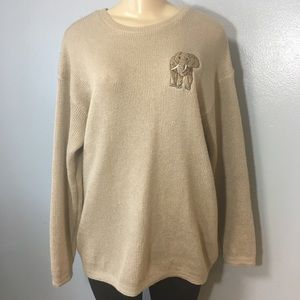 Cute Oversized Women Tan Sweater Elephant Print